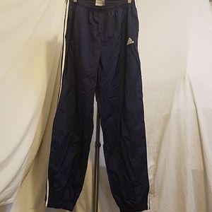 ADIDAS Navy Nylon Track Pants w/side stripes, Med